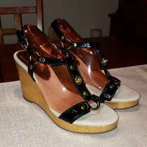COACH Mercy Crinkle Patent Wedge Sandal